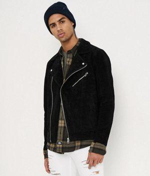 Thomas Mens Lapel Collar Motorcycle Leather Jacket
