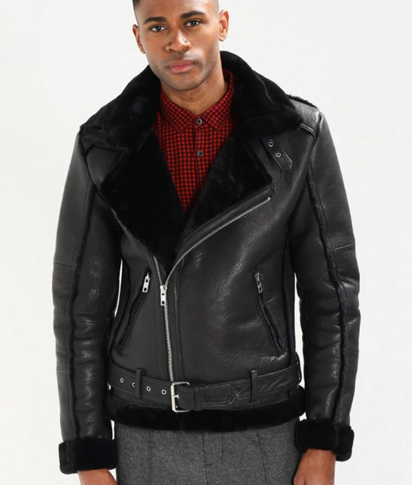 Travis Mens Lined collar Shearling Black Leather Jacket
