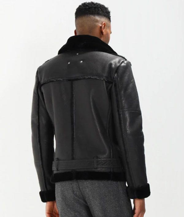 Mens Lined collar Shearling Black Leather Jacket