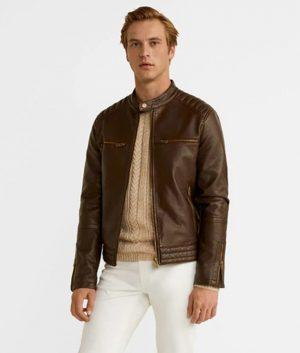 Tyler Mens Casual Brown Slimfit Leather Jacket