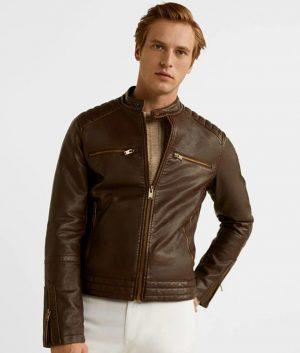 Tyler Mens Casual Brown Padded Shoulders Slimfit Jacket
