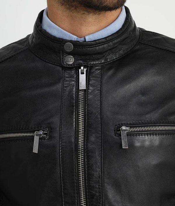 Waldron Mens Mandarin Collar Café Racer Leather Jacket