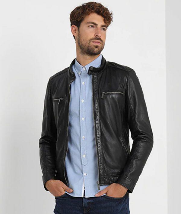 Mens Mandarin Collar Slimfit Black Café Racer Leather Jacket