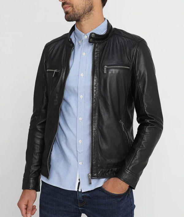 Waldron Mens Mandarin Collar Slimfit Black Café Racer Jacket