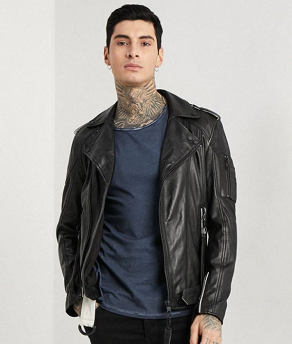 Wayne Mens Lapel Collar Black Leather Jacket