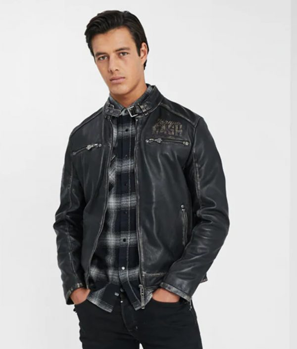 Mens Standing Collar Slimfit Cafe Racer Leather Jacket