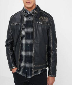 Wyble Mens Slimfit Cafe Racer Leather Jacket