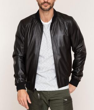 Mens Lambskin Leather Cafe Racer Baseball Black Jacket