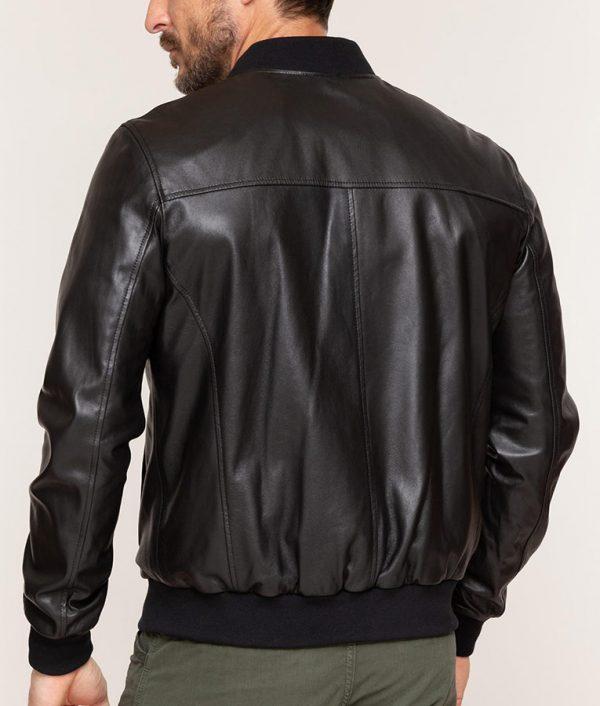Abramson Mens Lambskin Leather Cafe Racer Baseball Black Jacket