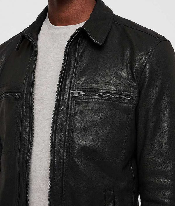 Acosta Mens Casual Black Collar Leather Jacket