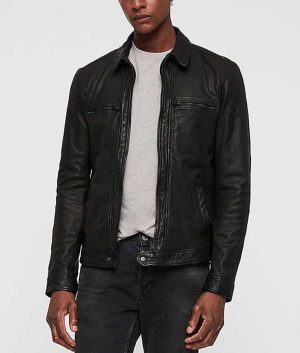 Acosta Mens Casual Black Leather Jacket