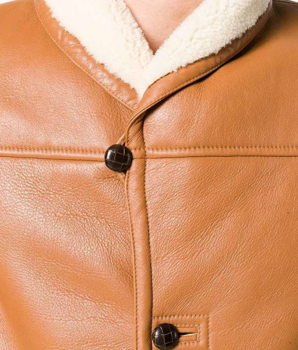 Alexander Mens Shearling Fur Slimfit Brown Leather Jacket