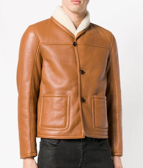 Mens Shearling Fur Collar Slimfit Brown Leather Jacket