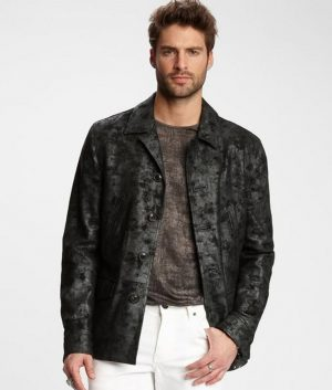 Mens Turn Down Collar Fully Lined Casual Black Leather Jacket