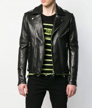 Mens Casual Slimfit Black Motorcycle Leather Jacket