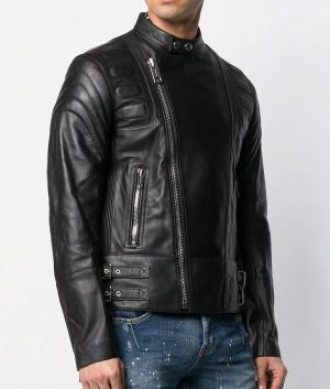 Mens Slimfit Casual Style Black Mandiran Collar Leather Jacket
