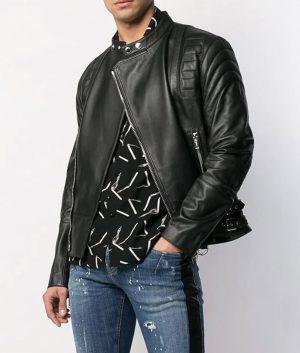 Antione Mens Slimfit Casual Style Mandiran Collar Leather Jacket
