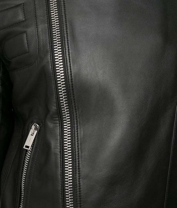 Antione Mens Slimfit Casual Style Black Leather Jacket