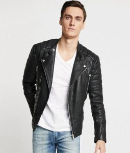 Mens Lapel collar Padded Shoulders Black Motorcycle Jacket
