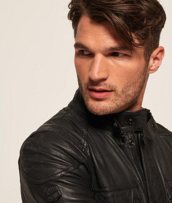 Ashley Mens Mandrian Collar Slimfit Cafe Racer Leather Jacket