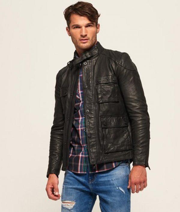 Ashley Mens Mandrian Collar Slimfit Black Cafe Racer Leather Jacket
