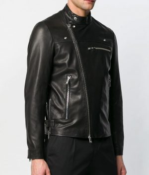 Baggett Mens Slimfit Casual Black Cafe Racer Leather Jacket