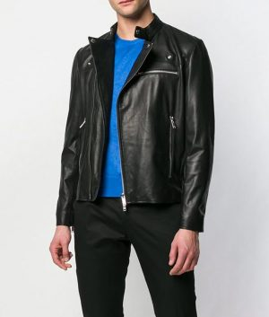 Baggett Mens Slimfit Casual Black Leather Jacket