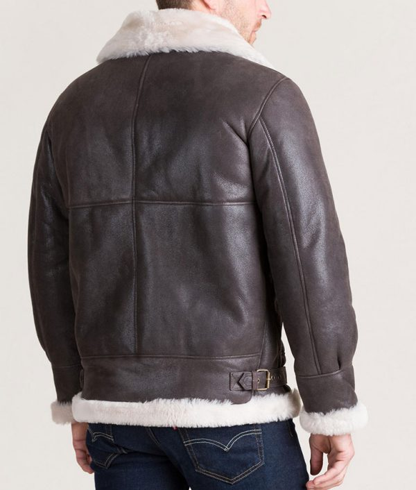 Mens Classic Shearling B-3 Bomber Jacket with Detachable Hood
