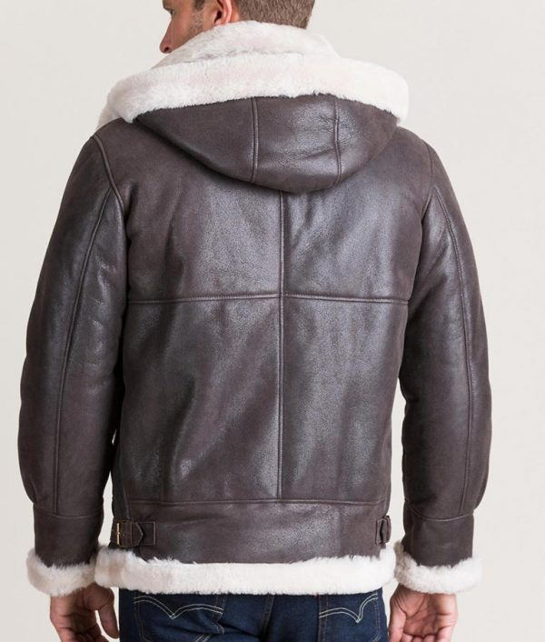 Bennett Mens Classic Shearling Jacket with Detachable Hood