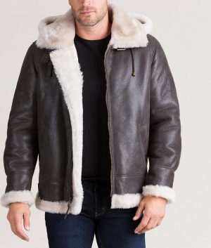 Bennett Mens Classic Shearling B-3 Bomber Brown Jacket