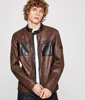 Billy Mens Slimfit Brown Casual Leather Jacket