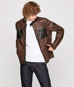 Mens Slimfit Brown Casual Cafe Racer Leather Jacket