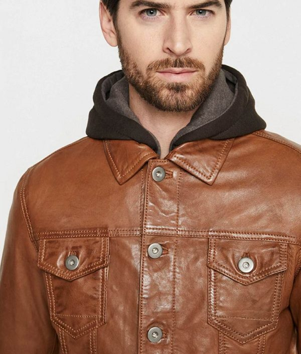 Blake Mens Hooded Collar Casual Leather Jacket