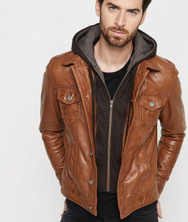 Blake Mens Hooded Collar Brown Casual Jacket