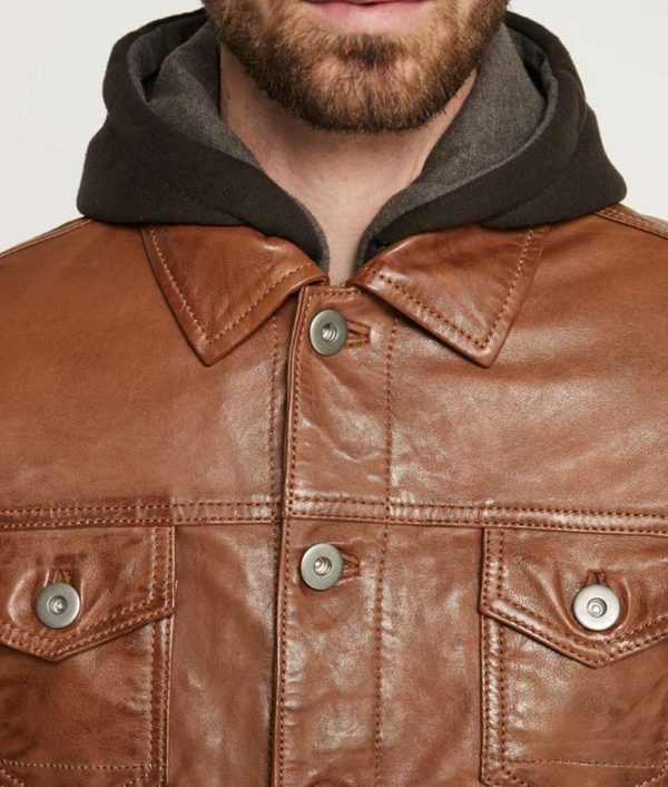 Blake Mens Hooded Collar Brown Casual Leather Jacket