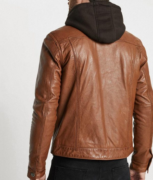 Blake Mens Hooded Collar Brown Leather Jacket