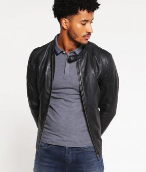 Bobby Mens Standing Collar Slimfit Casual Leather Jacket