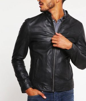 Bobby Mens Standing Collar Casual Black Leather Jacket