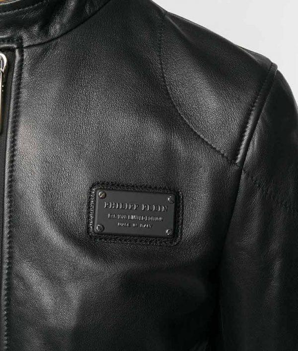 Borden Mens Mandrian Collar Slimfit Black Cafe Racer Style Leather Jacket