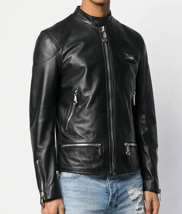 Borden Mens Slimfit Black Cafe Racer Style Leather Jacket