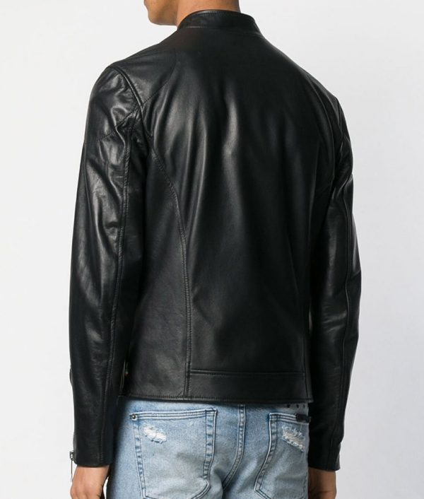 Borden Mens Mandrian Collar Black Cafe Racer Style Leather Jacket