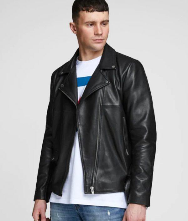 Brad Mens Turn Down Collar Leather Jacket