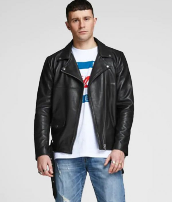 Brad Mens Turn Down Collar Slimfit Black Leather Jacket