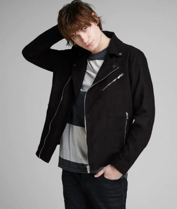 Brandon Mens Lapel Collar Sl Motorcycle Leather Jacket