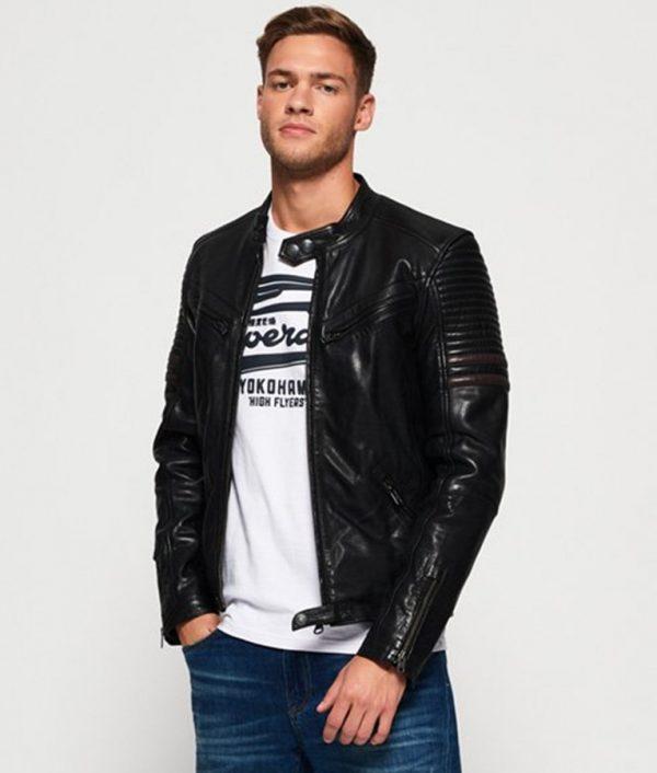 Bryant Mens Madarian Collar Slimfit cafe Racer Leather Jacket