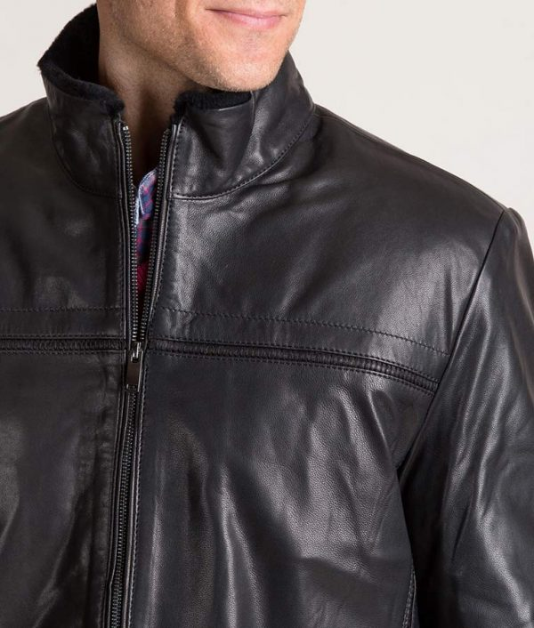 Burson Italian Lambskin Leather Jacket with Shearling Lining