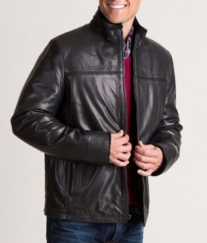 Burson Italian Lambskin Black Jacket with Shearling Lining