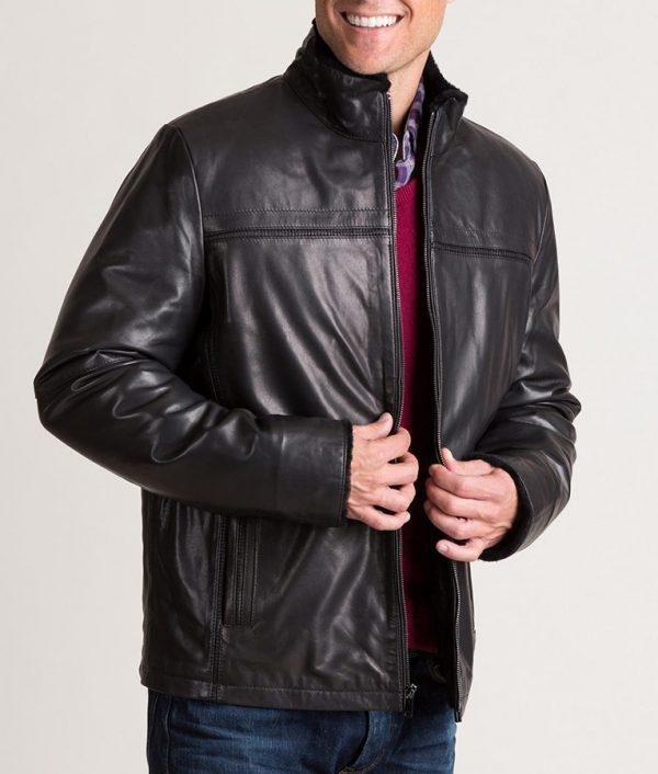 Burson Italian Lambskin Black Jacket with Shearling Lining