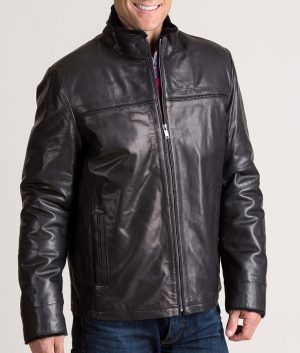Burson Italian Lambskin Black Leather Jacket