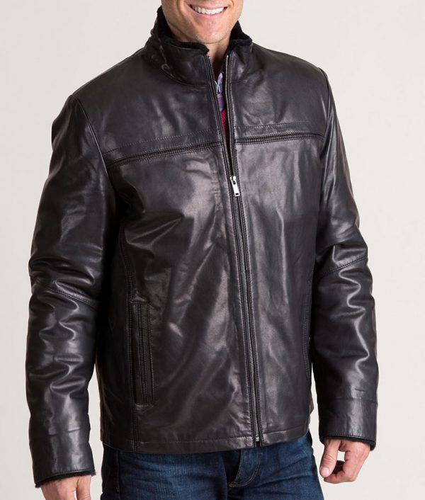 Burson Italian Lambskin Black Leather Jacket